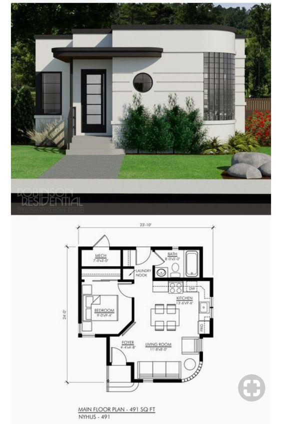 Casa com parede arredondada com foto de fachada