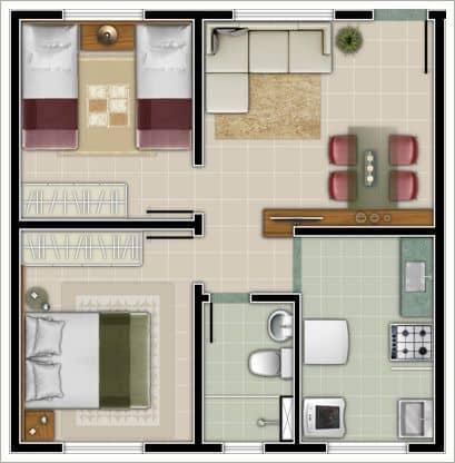 Planta de casa com 2 quartos, sala, cozinha e 1 banheiro