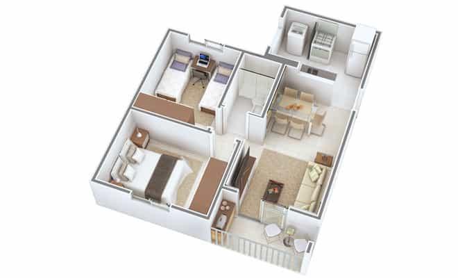 Planta de casa 3d com 2 quartos e churrasqueira