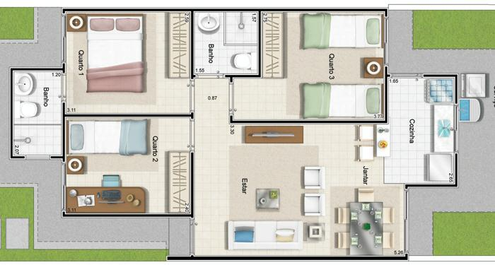 planta com 3 quartos e 2 banheiros