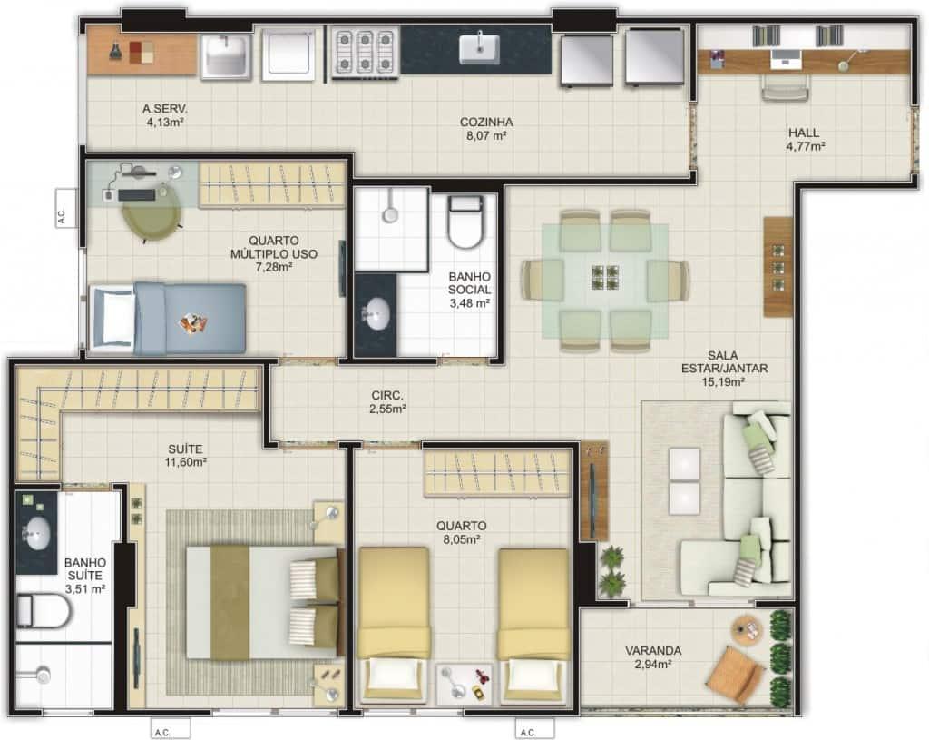 planta baixa de casa com 2 banheiros e 3 quartos