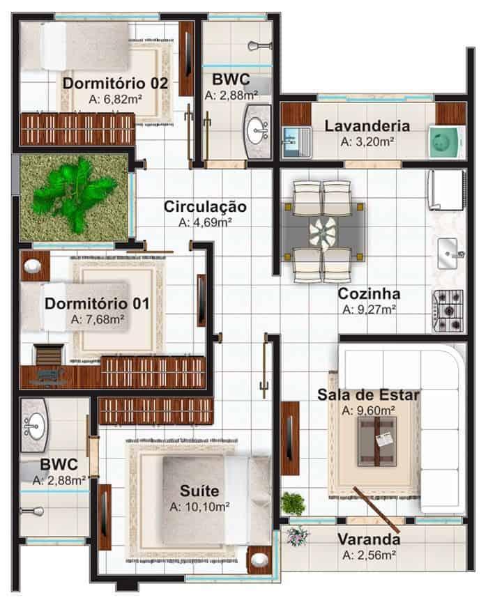 casa com 3 quartos jardim de inverno e lavanderia separada 2 banheiros