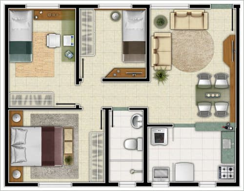 Casa pequena com 3 quartos