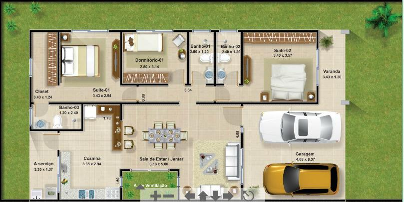 casa com cozinha grande e 3 banheiros e 3 quartos