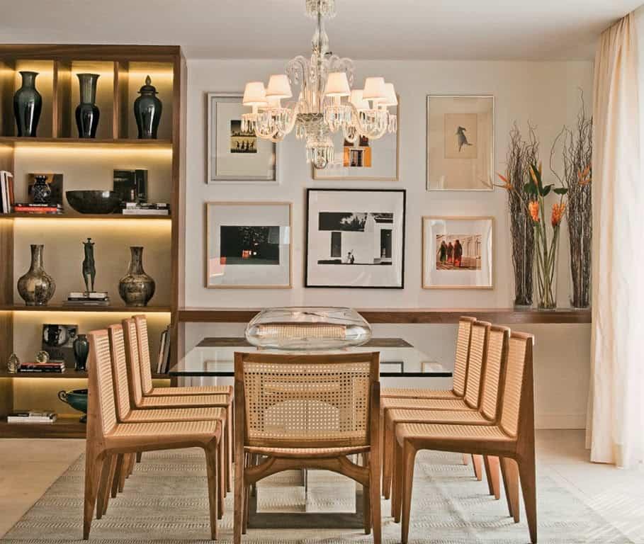 decoração de sala de jantar com tapete elegante