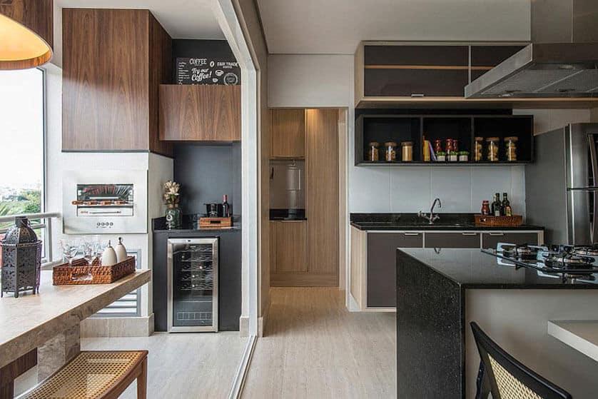 Varanda gourmet integrada com cozinha