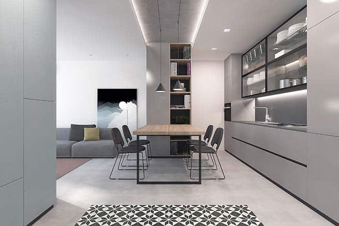Cozinha integrada com cimento queimado branco