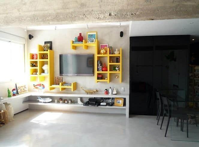 parede tv de concreto