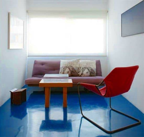 piso de cimento queimado azul