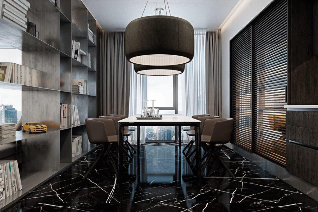 sala com piso de marmore preto
