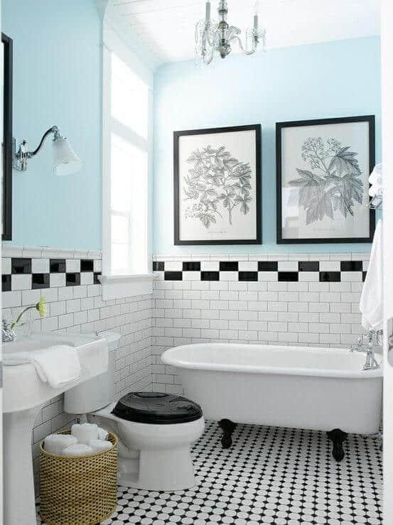 Banheiro com banheira decoração estilo americana