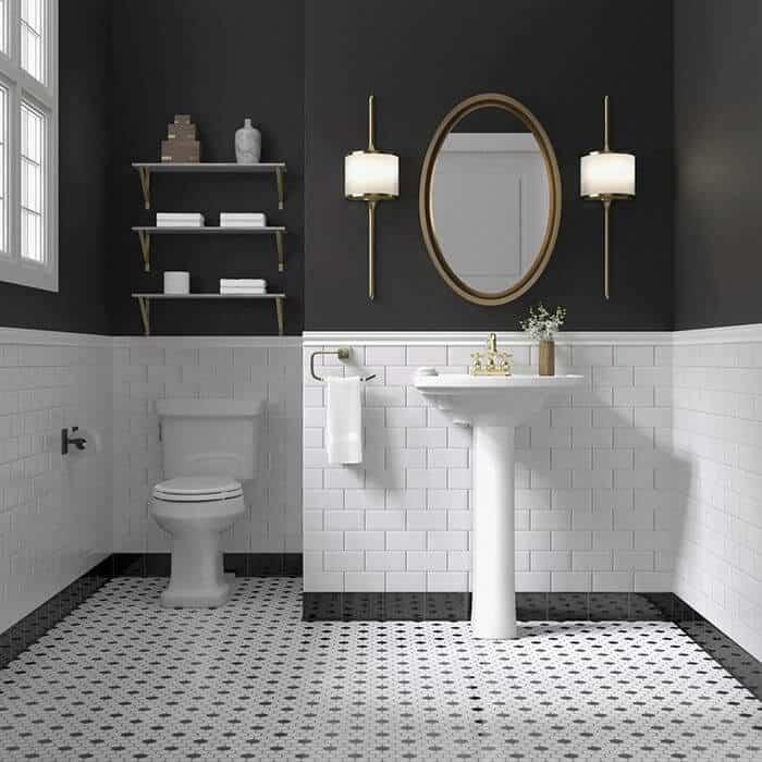 Decoração pinterest no banheiro preto e branco