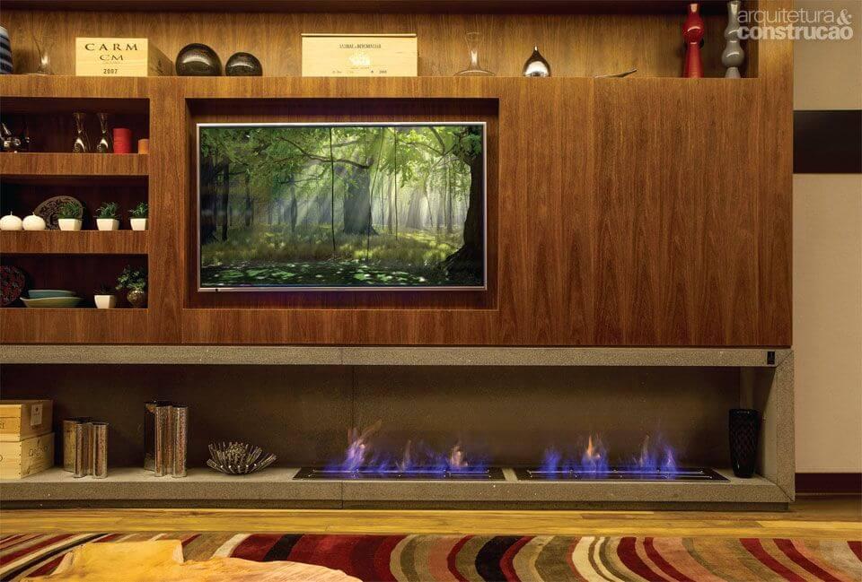 lareira ecologica embaixo da tv