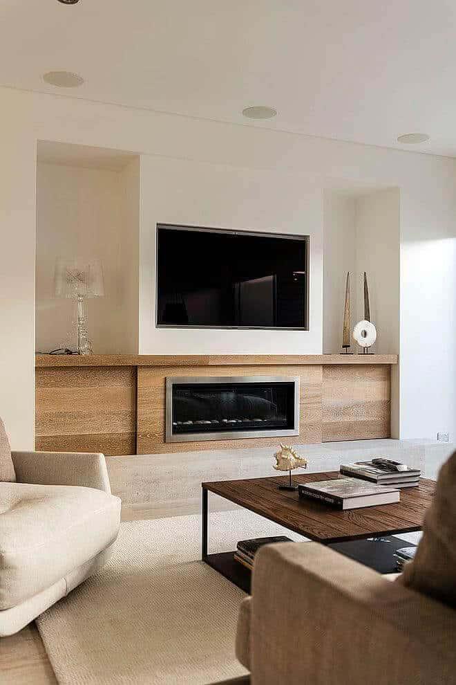 sala clean com lareira embaixo da tv
