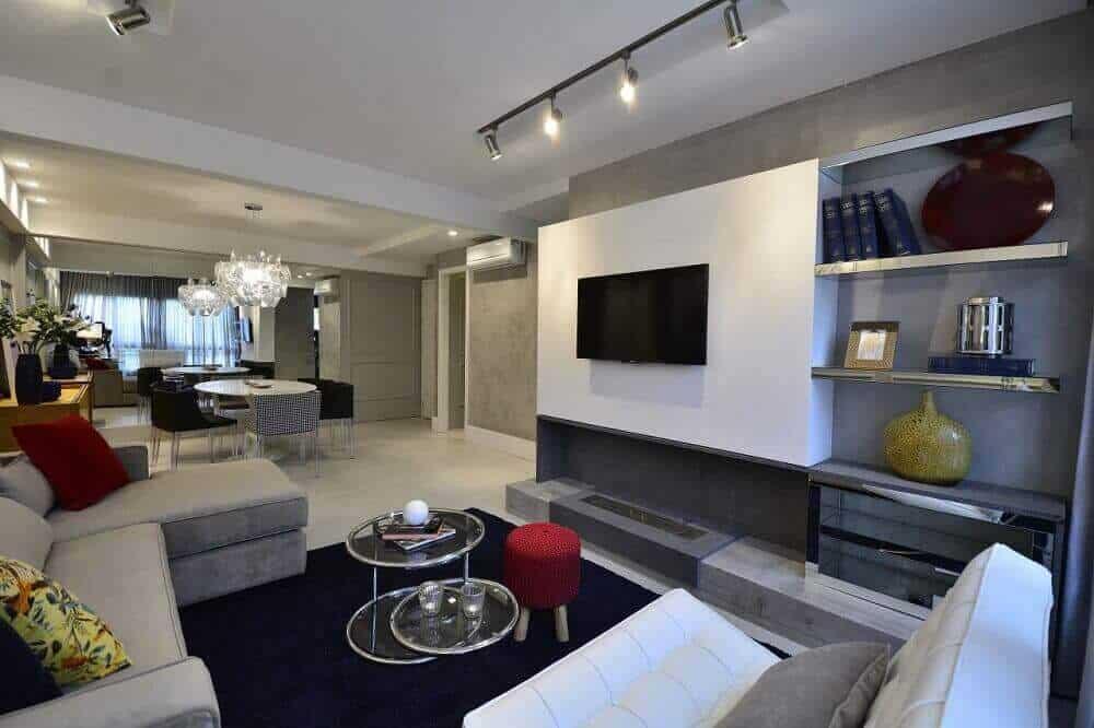 sala moderna com lareira ecologica